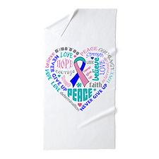 Thyroid Cancer Heart Words Beach Towel