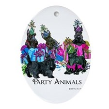 Scottish Terrier Party Animals Ornament (Oval)