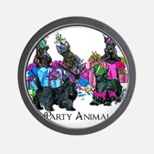 Scottish Terrier Party Animals Wall Clock
