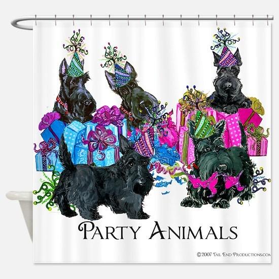 Scottish Terrier Party Animals Shower Curtain