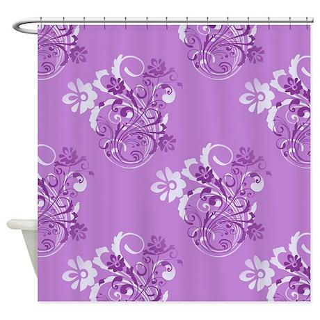 purple floral shower curtain by jeannierose. Black Bedroom Furniture Sets. Home Design Ideas