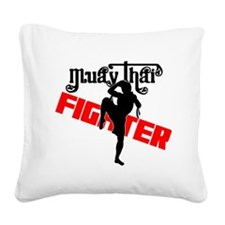 Muay Thai Fighter Square Canvas Pillow