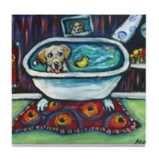 Yellow Labrador Happy Bath Tile Coaster