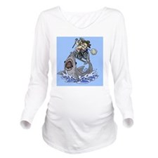 Jumo the Shark Blue Long Sleeve Maternity T-Shirt