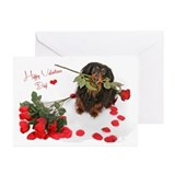 Dachshund and roses Greeting Cards (10 Pack)