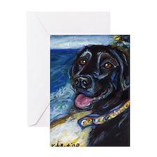 Happy Black Labrador Greeting Cards