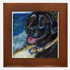 Happy Black Labrador Framed Tile