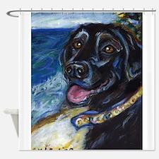 Happy Black Labrador Shower Curtain