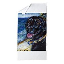 Happy Black Labrador Beach Towel
