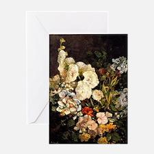 Boudin - Spray of Flowers-Hollyhocks Greeting Card