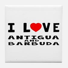I Love Antigua and Barbuda Tile Coaster