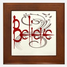 Believe Maroon with Grey Flourish Framed Tile