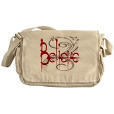 Believe Maroon with Grey Flourish Messenger Bag