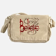 Believe Maroon with Grey Flourish Messenger Bag