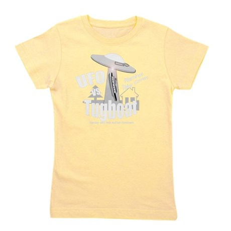 funny tugboat and ufo design Girl's Tee