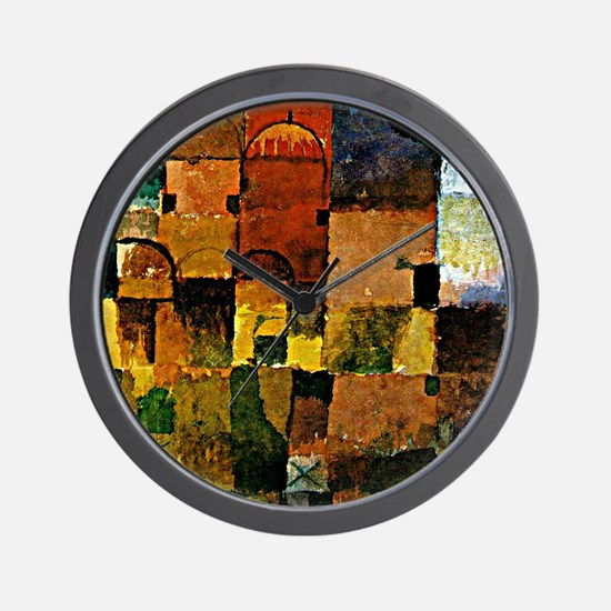 Klee - Red and White Domes, Paul Klee p Wall Clock