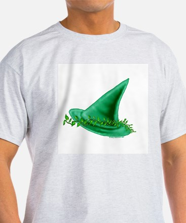 Green Witch - Hat & Leaves  Ash Grey T-Shirt