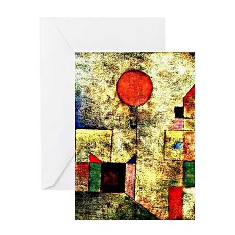 Klee - Red Balloon, painting by Paul Greeting Card