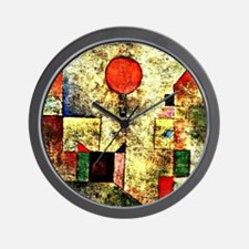 Klee - Red Balloon, painting by Paul Kl Wall Clock