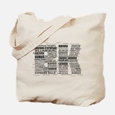 Brooklyn BK Text Art Tote Bag