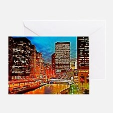 Chicago Downtown Night Scene Mousepa Greeting Card