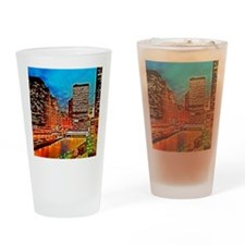 Chicago Downtown Night Scene Mousep Drinking Glass