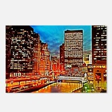 Chicago Downtown Night Sc Postcards (Package of 8)