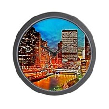 Chicago Downtown Night Scene Mousepad Wall Clock