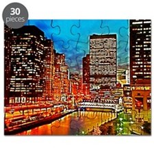 Chicago Downtown Night Scene Mousepad Puzzle