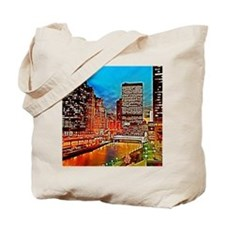 Chicago Downtown Night Scene Mousepad Tote Bag