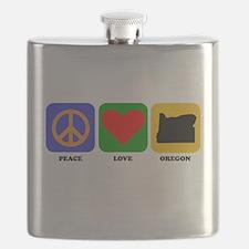 Peace Love Oregon Flask