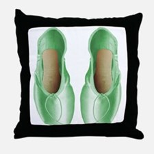 Soft Lime Pointe Shoes Throw Pillow