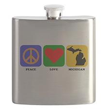 Peace Love Michigan Flask
