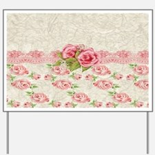 Vintage Pink and  Cream Rose Pattern Yard Sign