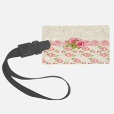 Vintage Pink and  Cream Rose Pat Luggage Tag