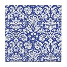 Navy Blue Damask Tile Coaster