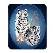 Two White Tigers Oval PosterP Mousepad