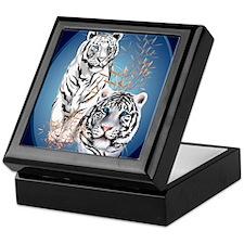 Two White Tigers Oval PosterP Keepsake Box