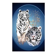 Two White Tigers Oval Pos Postcards (Package of 8)