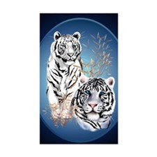Two White Tigers Oval PosterP Decal