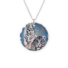 Two White Tigers Oval Poster Necklace