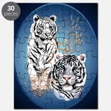 Two White Tigers Oval PosterP Puzzle