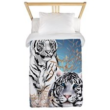 Two White Tigers Oval PosterP Twin Duvet