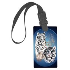 Two White Tigers Oval PosterP Luggage Tag