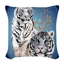 Two White Tigers Oval PosterP Woven Throw Pillow