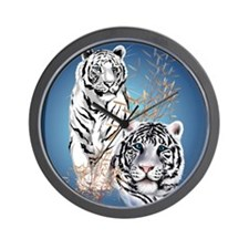 Two White Tigers Oval PosterP Wall Clock