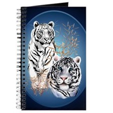 Two White Tigers Oval PosterP Journal