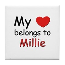 My heart belongs to millie Tile Coaster