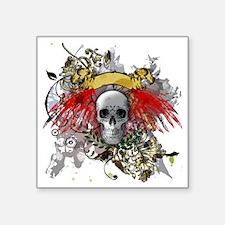 """Winged Death Square Sticker 3"""" x 3"""""""