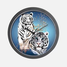 Two White Tigers Calender Wall Clock
